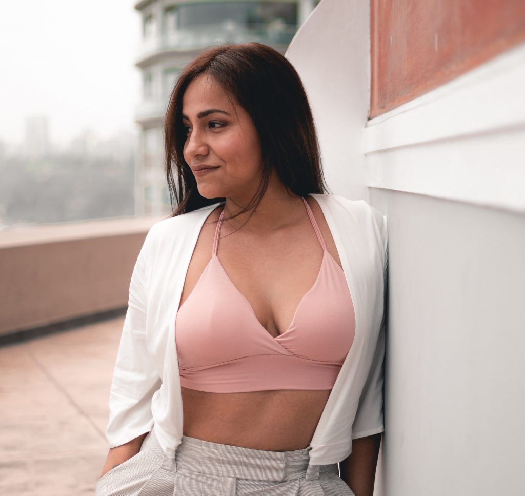 Woman looking to right